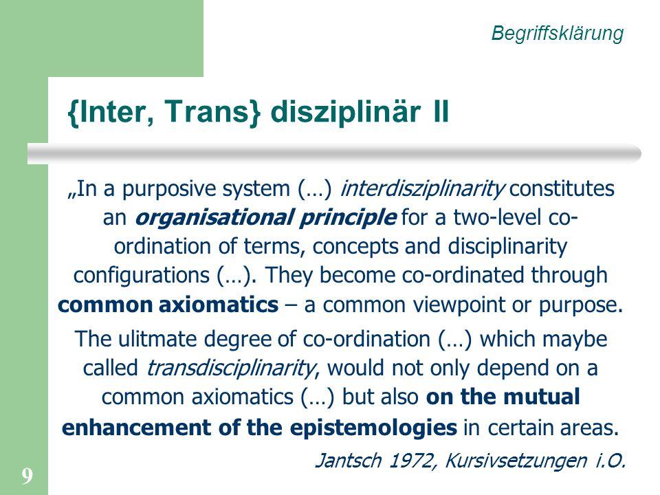 {Inter, Trans} disziplinär II
