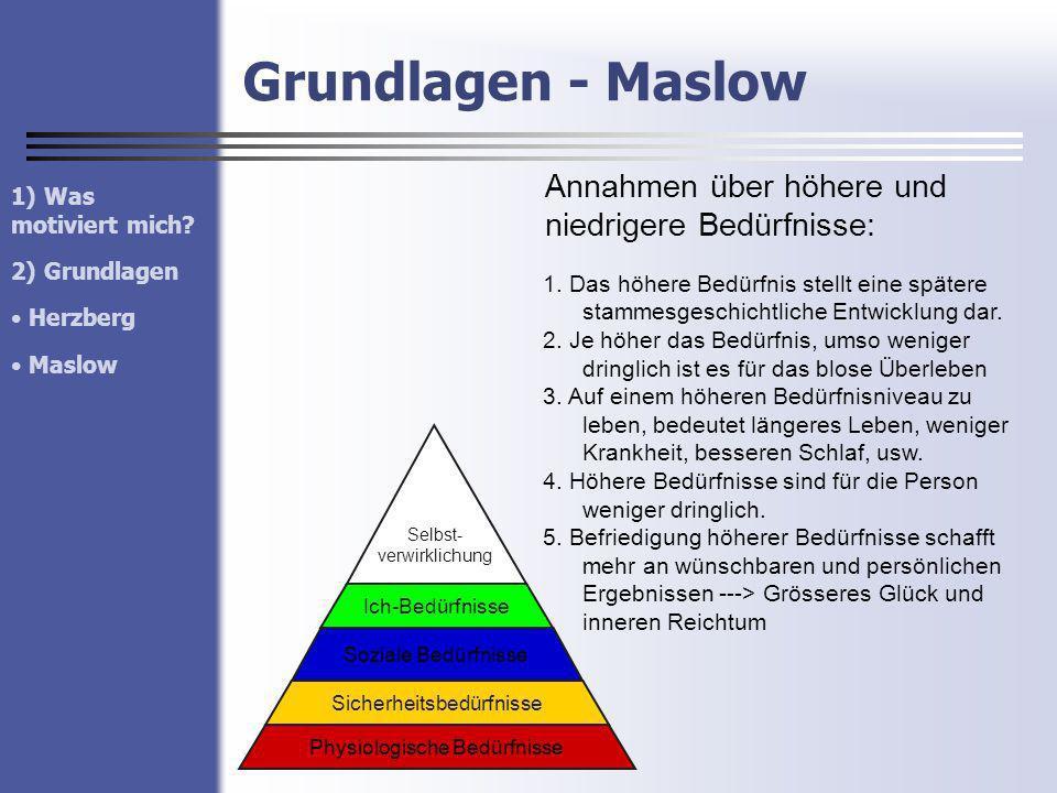 Grundlagen - Maslow Annahmen über höhere und niedrigere Bedürfnisse: