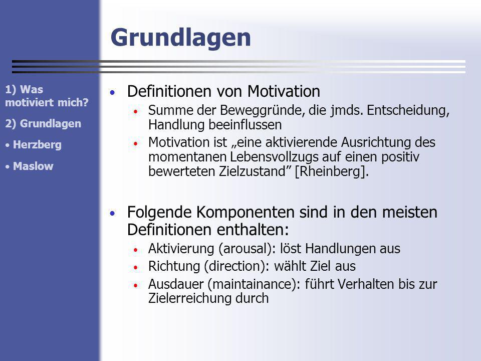 Grundlagen Definitionen von Motivation