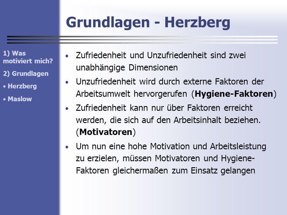 Grundlagen - Herzberg 1) Was motiviert mich 2) Grundlagen. Herzberg. Maslow.