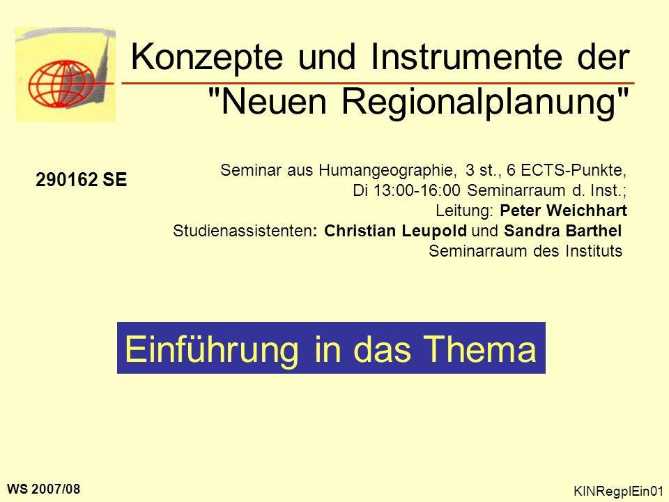 Konzepte und Instrumente der Neuen Regionalplanung
