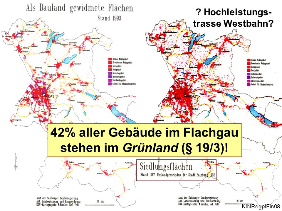 42% aller Gebäude im Flachgau stehen im Grünland (§ 19/3)!
