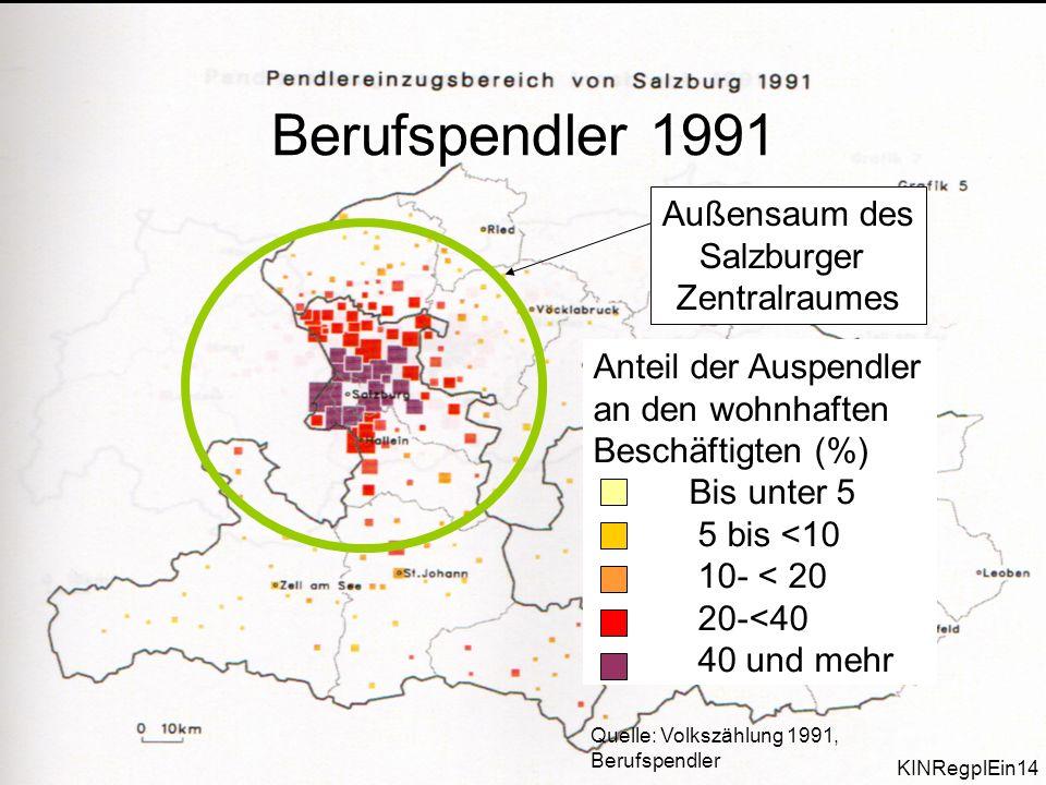 Berufspendler 1991 Außensaum des Salzburger Zentralraumes