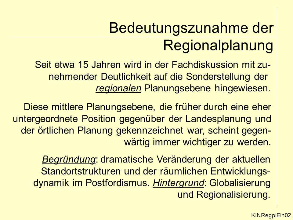 Bedeutungszunahme der Regionalplanung