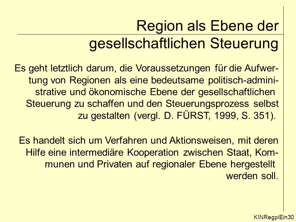 Region als Ebene der gesellschaftlichen Steuerung