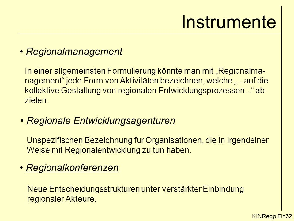 Instrumente Regionalmanagement Regionale Entwicklungsagenturen