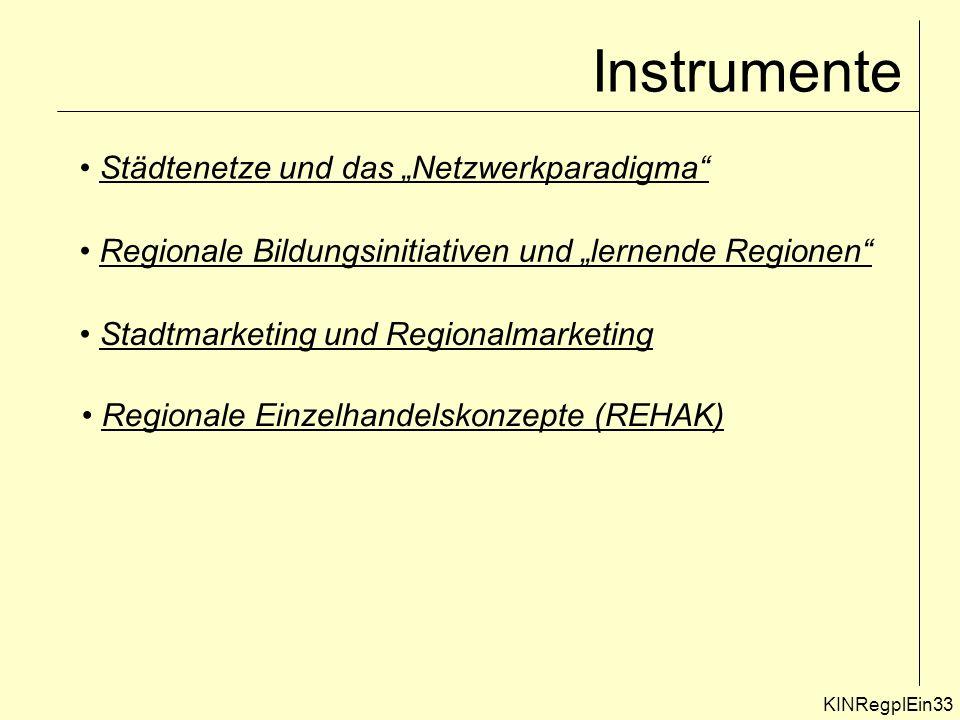 """Instrumente Städtenetze und das """"Netzwerkparadigma"""