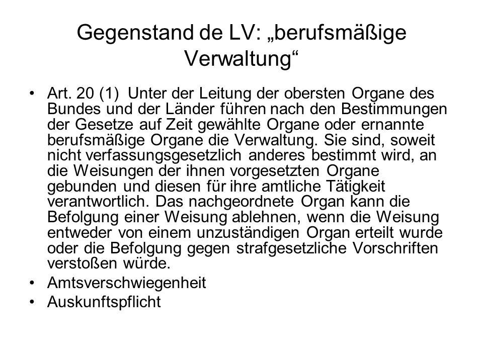 "Gegenstand de LV: ""berufsmäßige Verwaltung"