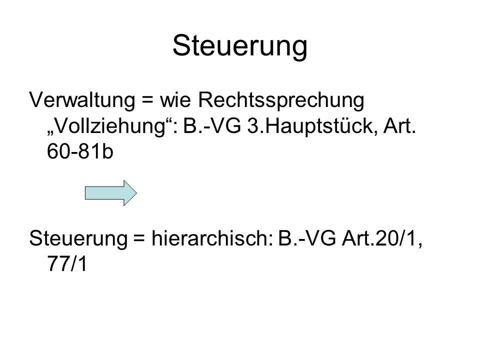 """Steuerung Verwaltung = wie Rechtssprechung """"Vollziehung : B.-VG 3.Hauptstück, Art."""