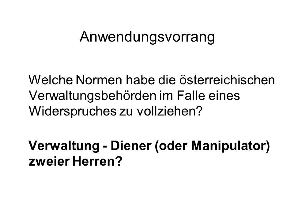 Anwendungsvorrang Welche Normen habe die österreichischen Verwaltungsbehörden im Falle eines Widerspruches zu vollziehen