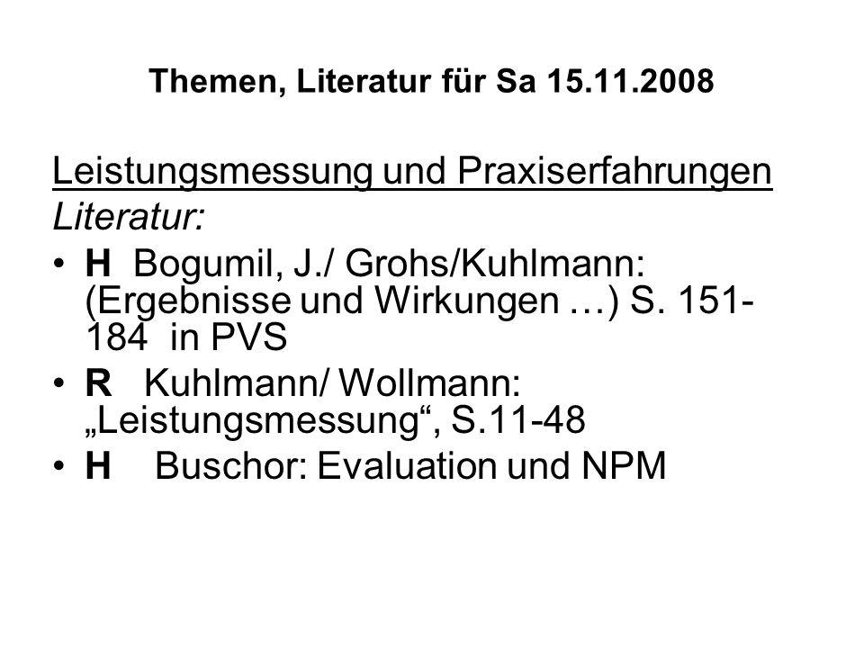Themen, Literatur für Sa 15.11.2008