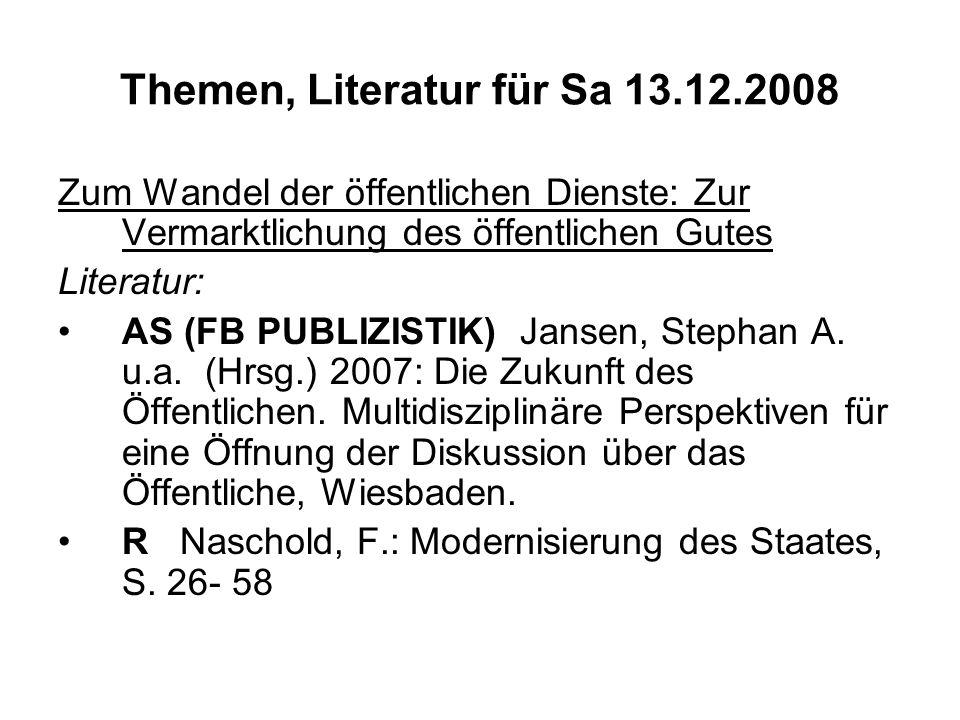 Themen, Literatur für Sa 13.12.2008