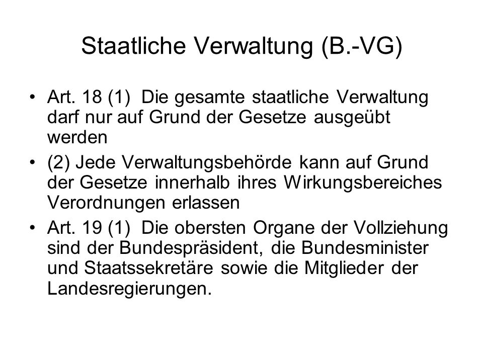 Staatliche Verwaltung (B.-VG)