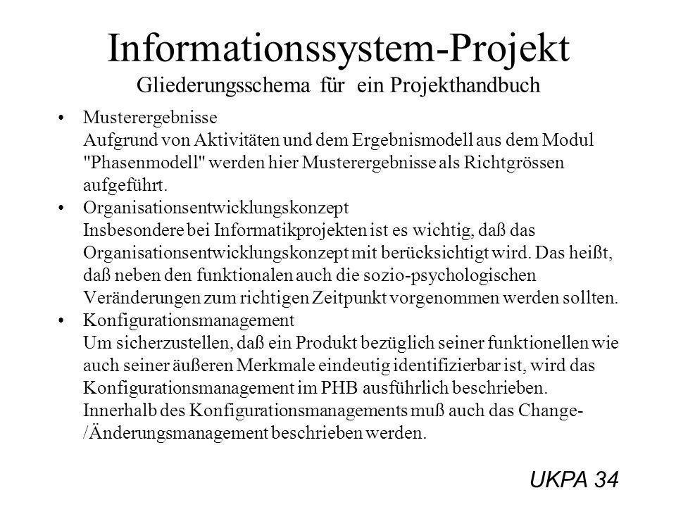 Informationssystem-Projekt Gliederungsschema für ein Projekthandbuch