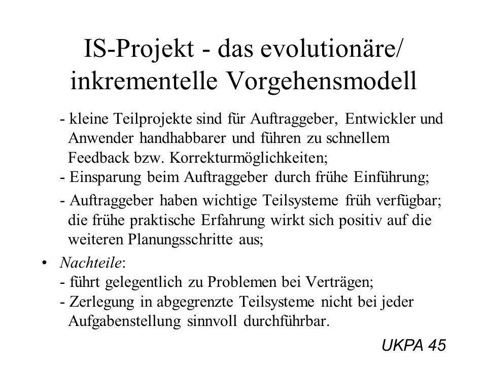 IS-Projekt - das evolutionäre/ inkrementelle Vorgehensmodell