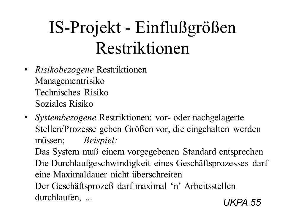 IS-Projekt - Einflußgrößen Restriktionen