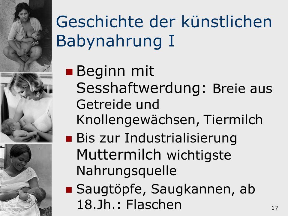 Geschichte der künstlichen Babynahrung I