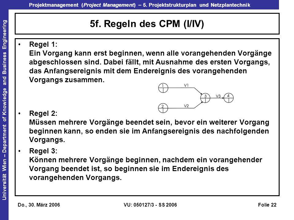 5f. Regeln des CPM (I/IV)
