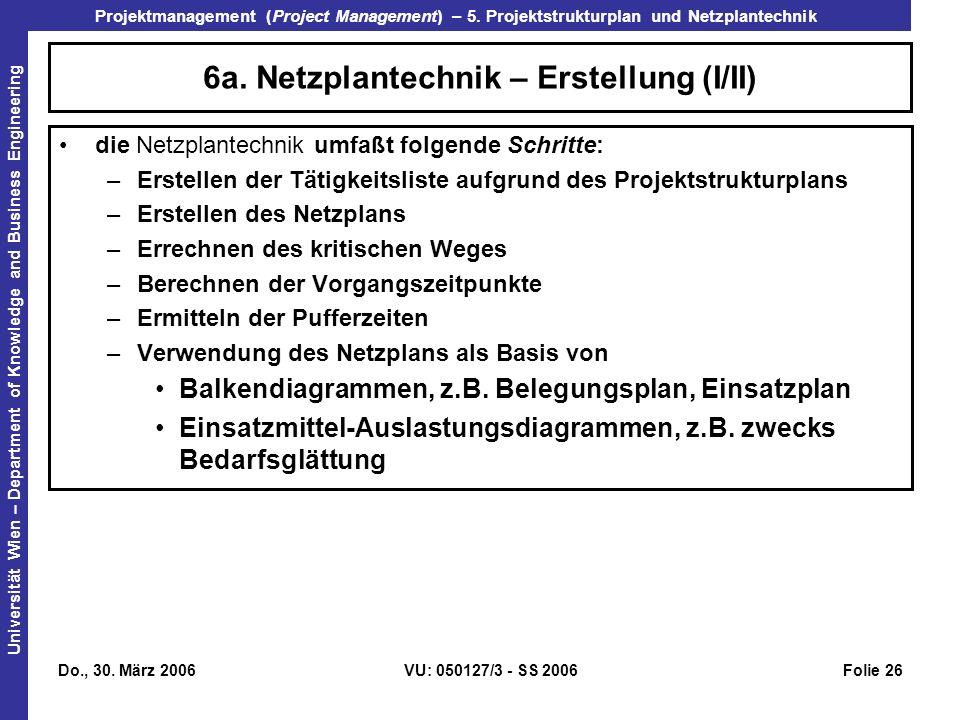 6a. Netzplantechnik – Erstellung (I/II)