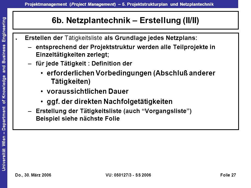 6b. Netzplantechnik – Erstellung (II/II)