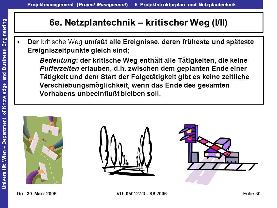 6e. Netzplantechnik – kritischer Weg (I/II)