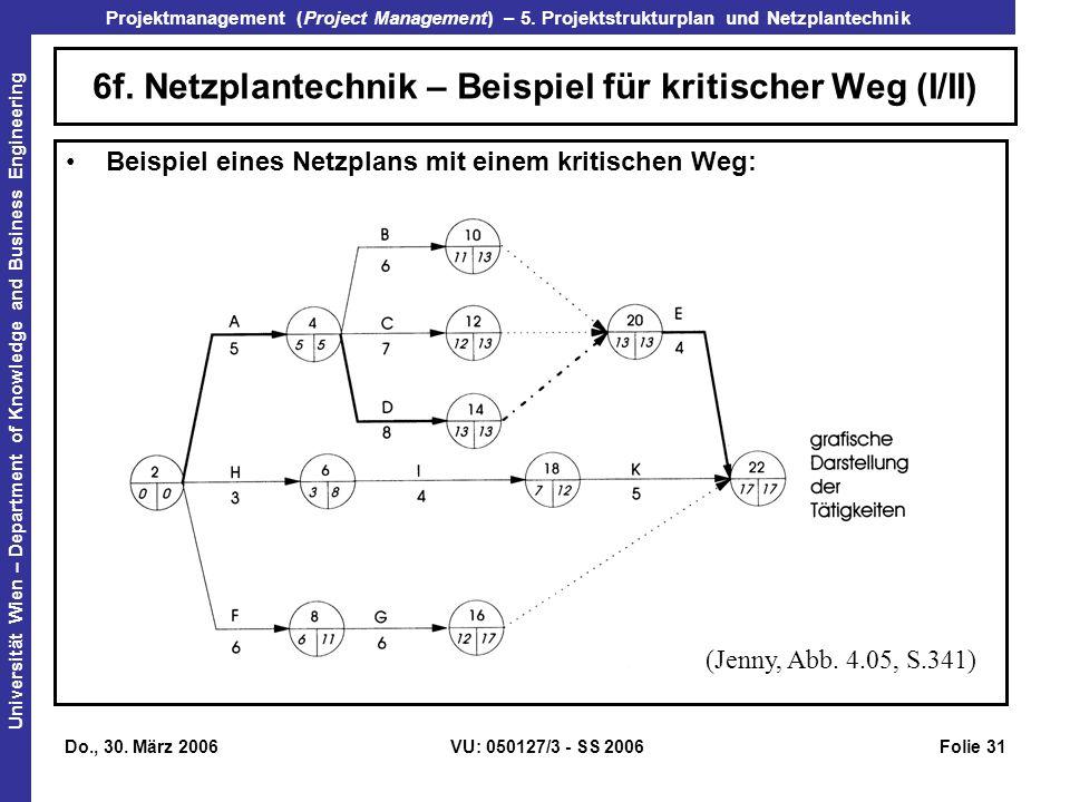 6f. Netzplantechnik – Beispiel für kritischer Weg (I/II)
