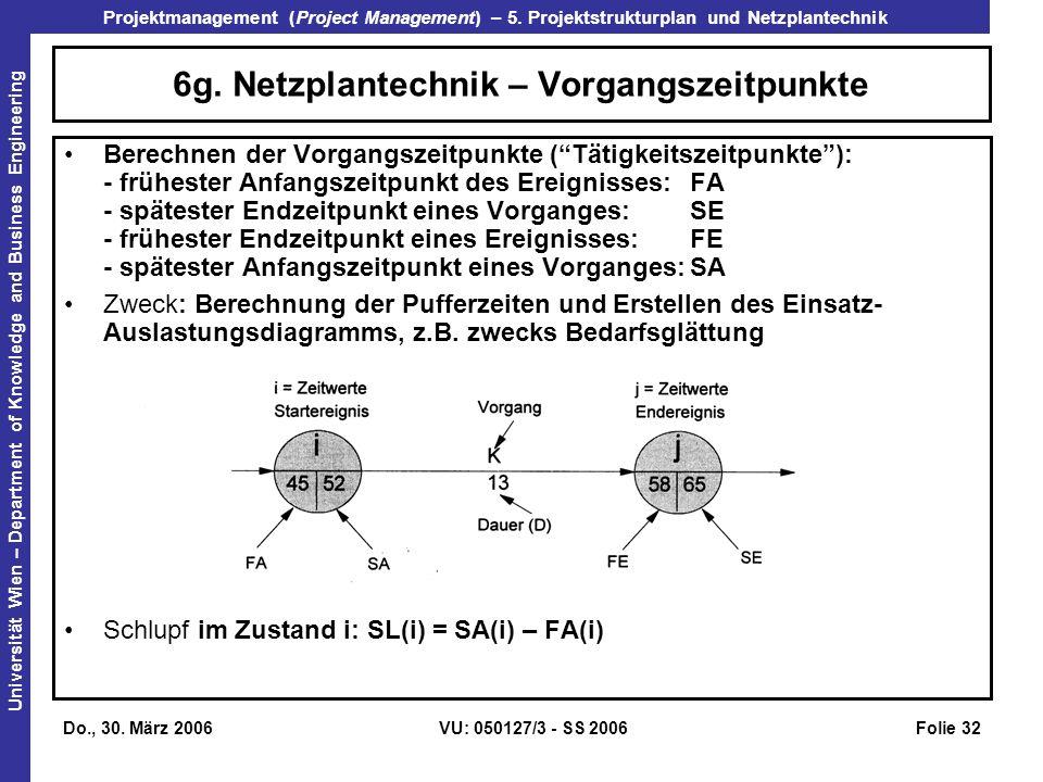 6g. Netzplantechnik – Vorgangszeitpunkte