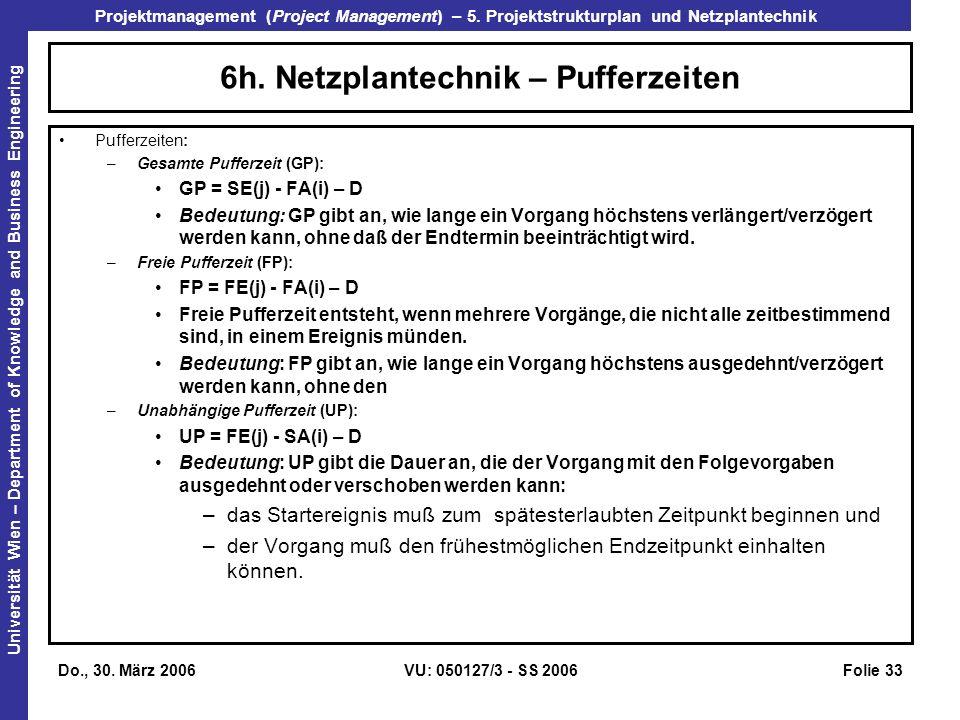 6h. Netzplantechnik – Pufferzeiten