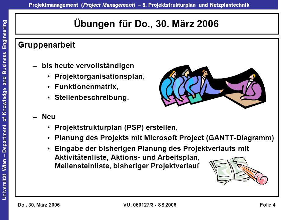 Übungen für Do., 30. März 2006 Gruppenarbeit