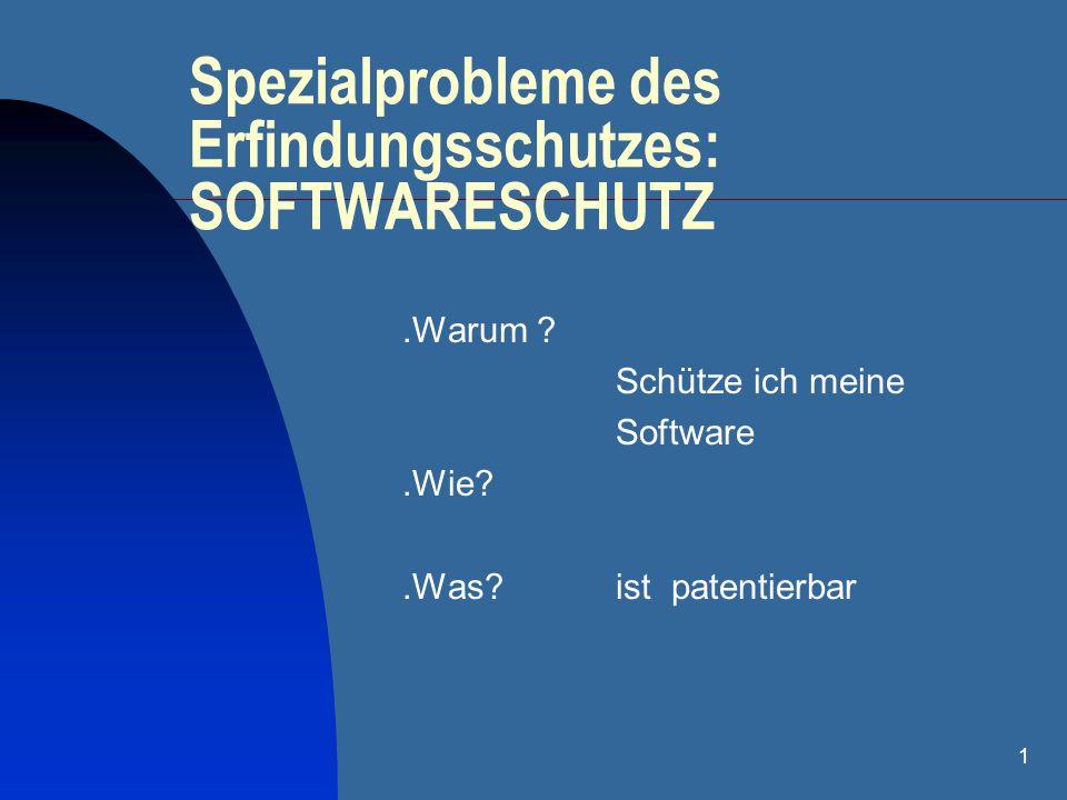 Spezialprobleme des Erfindungsschutzes: SOFTWARESCHUTZ