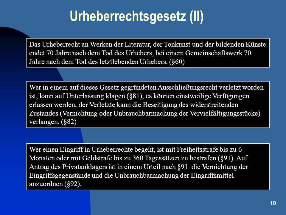 Urheberrechtsgesetz (II)