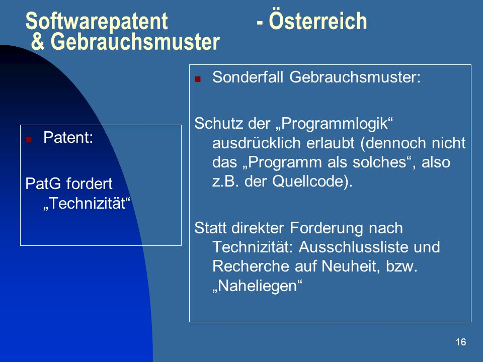 Softwarepatent - Österreich & Gebrauchsmuster