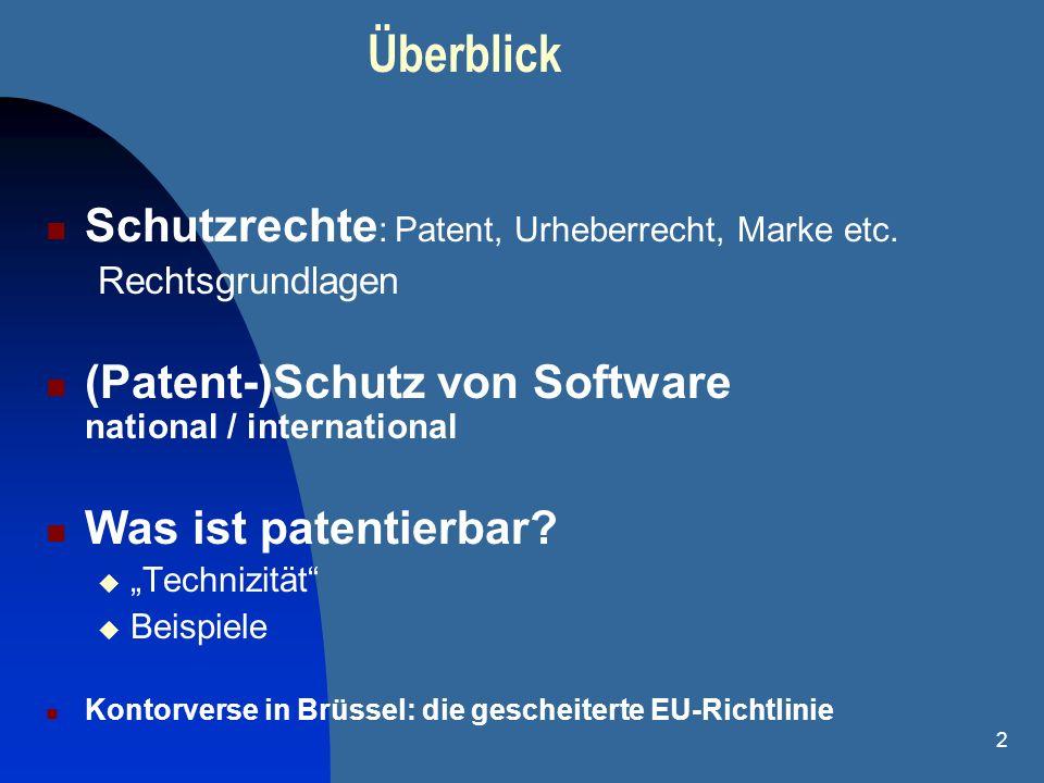 Überblick Schutzrechte: Patent, Urheberrecht, Marke etc.