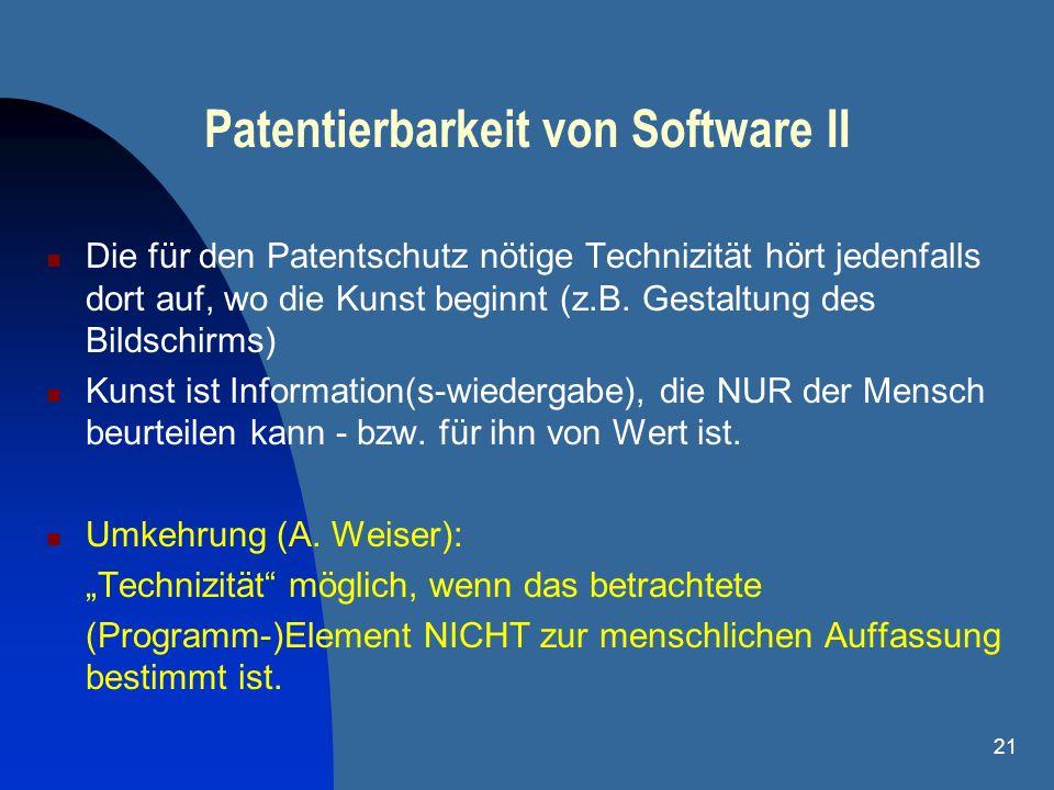 Patentierbarkeit von Software II