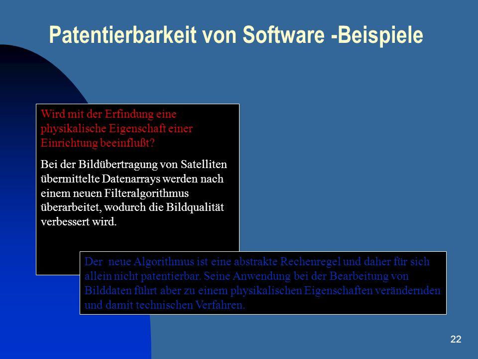 Patentierbarkeit von Software -Beispiele