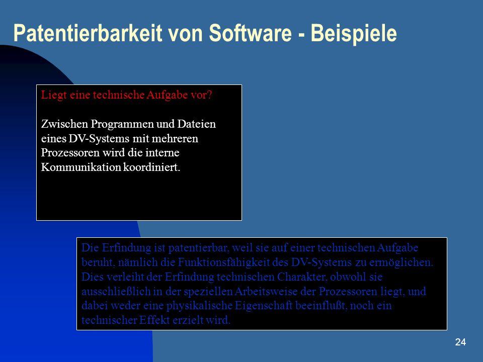 Patentierbarkeit von Software - Beispiele
