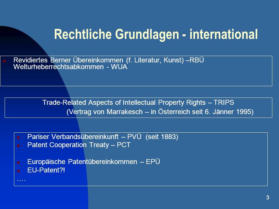 Rechtliche Grundlagen - international