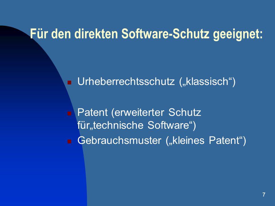 Für den direkten Software-Schutz geeignet: