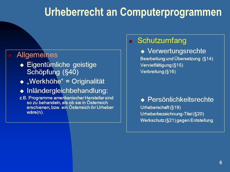 Urheberrecht an Computerprogrammen