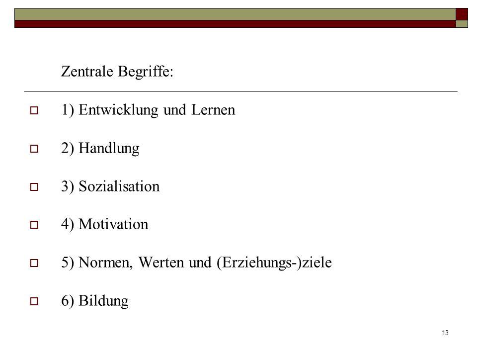 Zentrale Begriffe: 1) Entwicklung und Lernen. 2) Handlung. 3) Sozialisation. 4) Motivation. 5) Normen, Werten und (Erziehungs-)ziele.