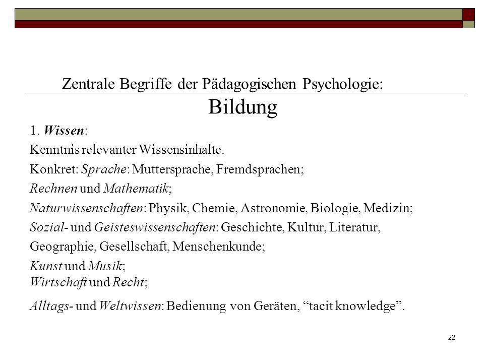 Bildung Zentrale Begriffe der Pädagogischen Psychologie: 1. Wissen: