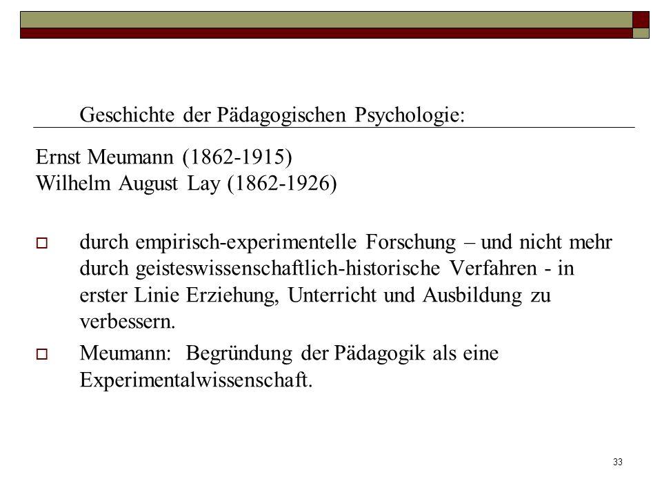 Geschichte der Pädagogischen Psychologie: