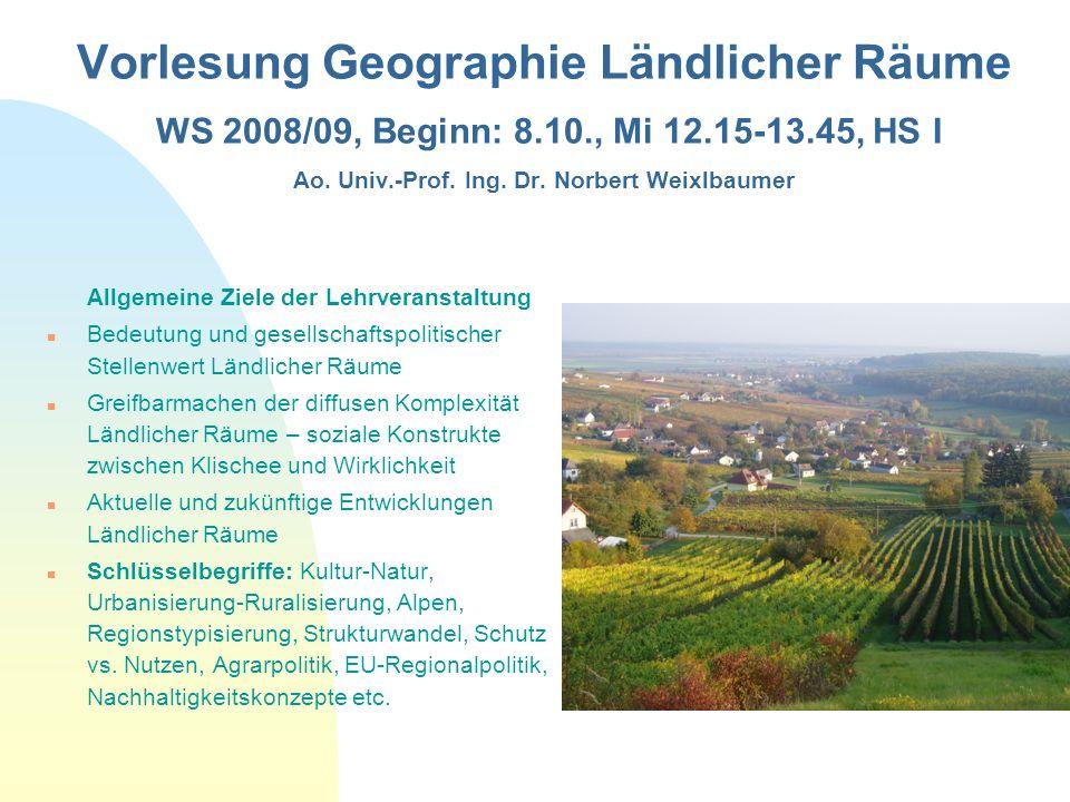 28.03.2017 Vorlesung Geographie Ländlicher Räume WS 2008/09, Beginn: 8.10., Mi 12.15-13.45, HS I Ao. Univ.-Prof. Ing. Dr. Norbert Weixlbaumer.