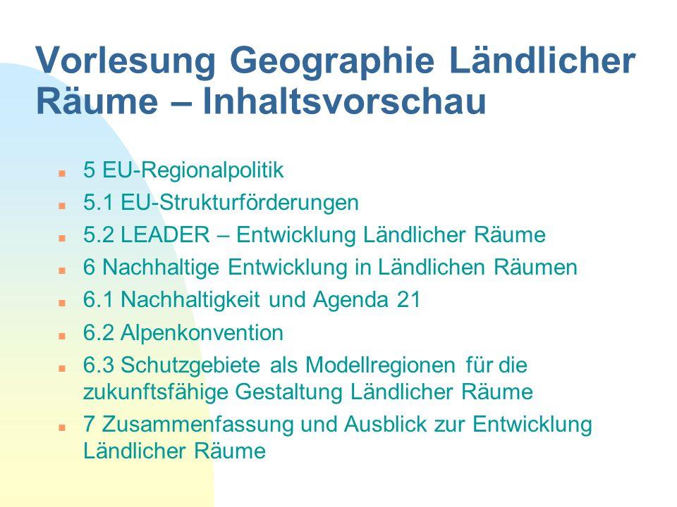 Vorlesung Geographie Ländlicher Räume – Inhaltsvorschau