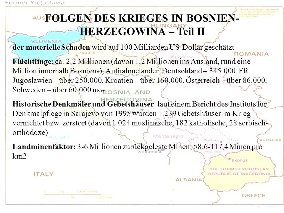FOLGEN DES KRIEGES IN BOSNIEN-HERZEGOWINA – Teil II