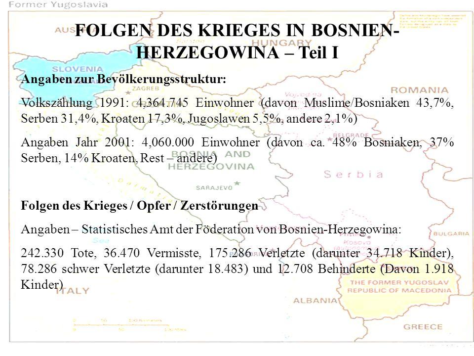 FOLGEN DES KRIEGES IN BOSNIEN-HERZEGOWINA – Teil I