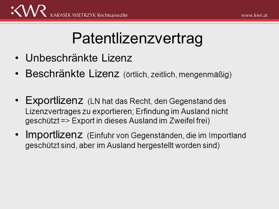 Patentlizenzvertrag Unbeschränkte Lizenz