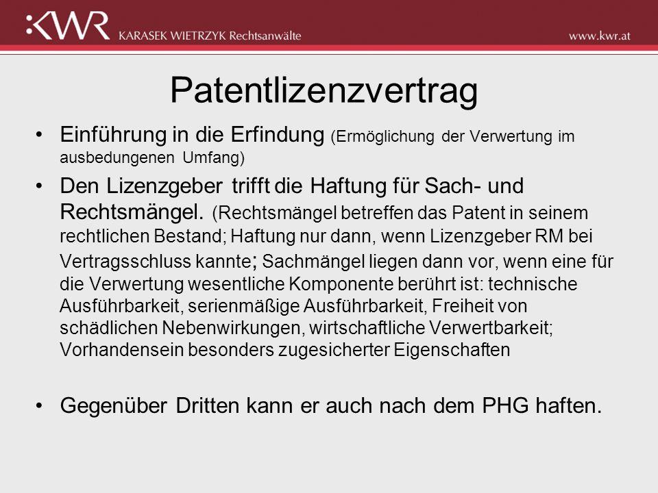 Patentlizenzvertrag Einführung in die Erfindung (Ermöglichung der Verwertung im ausbedungenen Umfang)