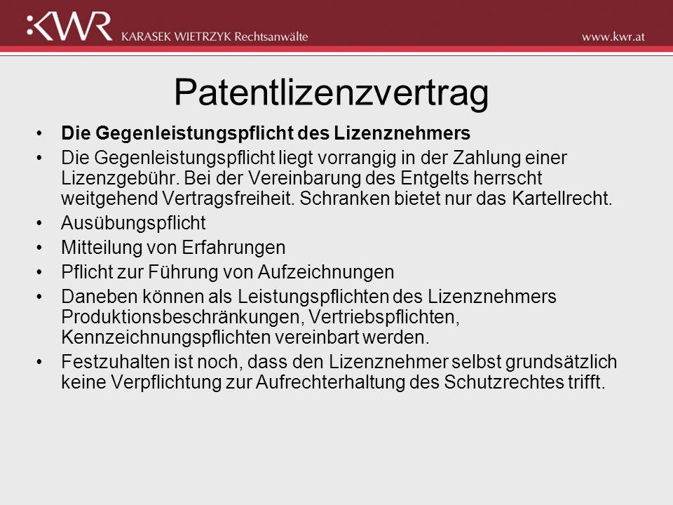 Patentlizenzvertrag Die Gegenleistungspflicht des Lizenznehmers