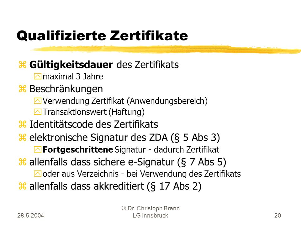 Qualifizierte Zertifikate